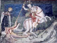 Св. Георгий.Настенная роспись в замке Фенис (долина Аоста. Италия